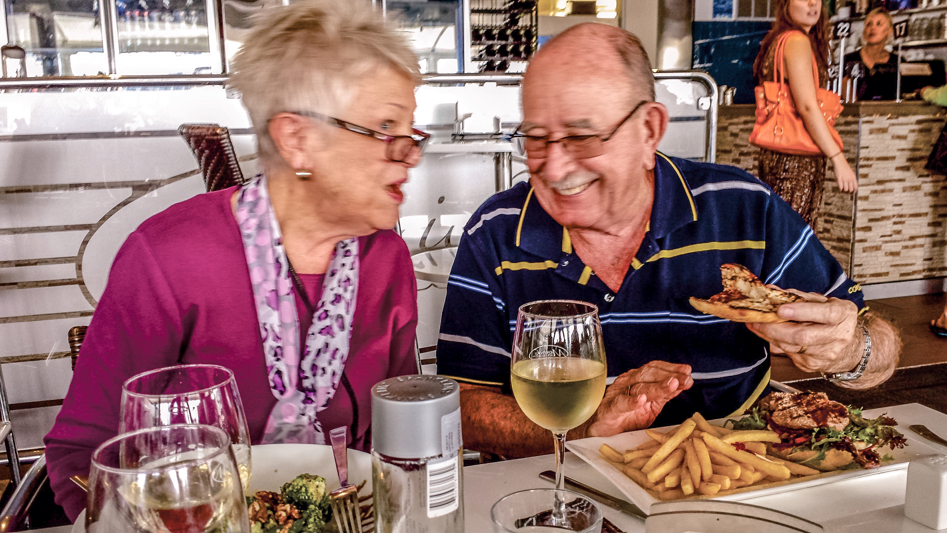 Ken and Bev Dunn enjoying lunch.